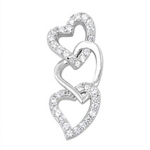 Sterling Silver Sophisticated CZ Heart Love pendant New d34 - $10.59
