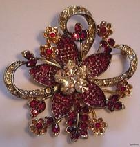 AVON 35 YEARS BROOCH PIN 2006 Garnet Amber Rhinestones  - $27.95