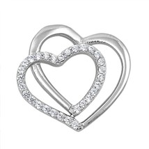 Sterling Silver CZ Double Heart pendant New d31 - $11.54