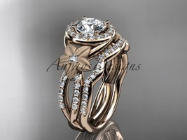 14kt rose gold diamond wedding ring with a  Moissanite center stone ADLR127S - $2,595.00