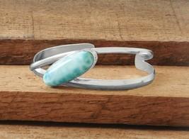 Women's Sterling Silver Oval Larimar Cuff Bange Bracelet - $279.99