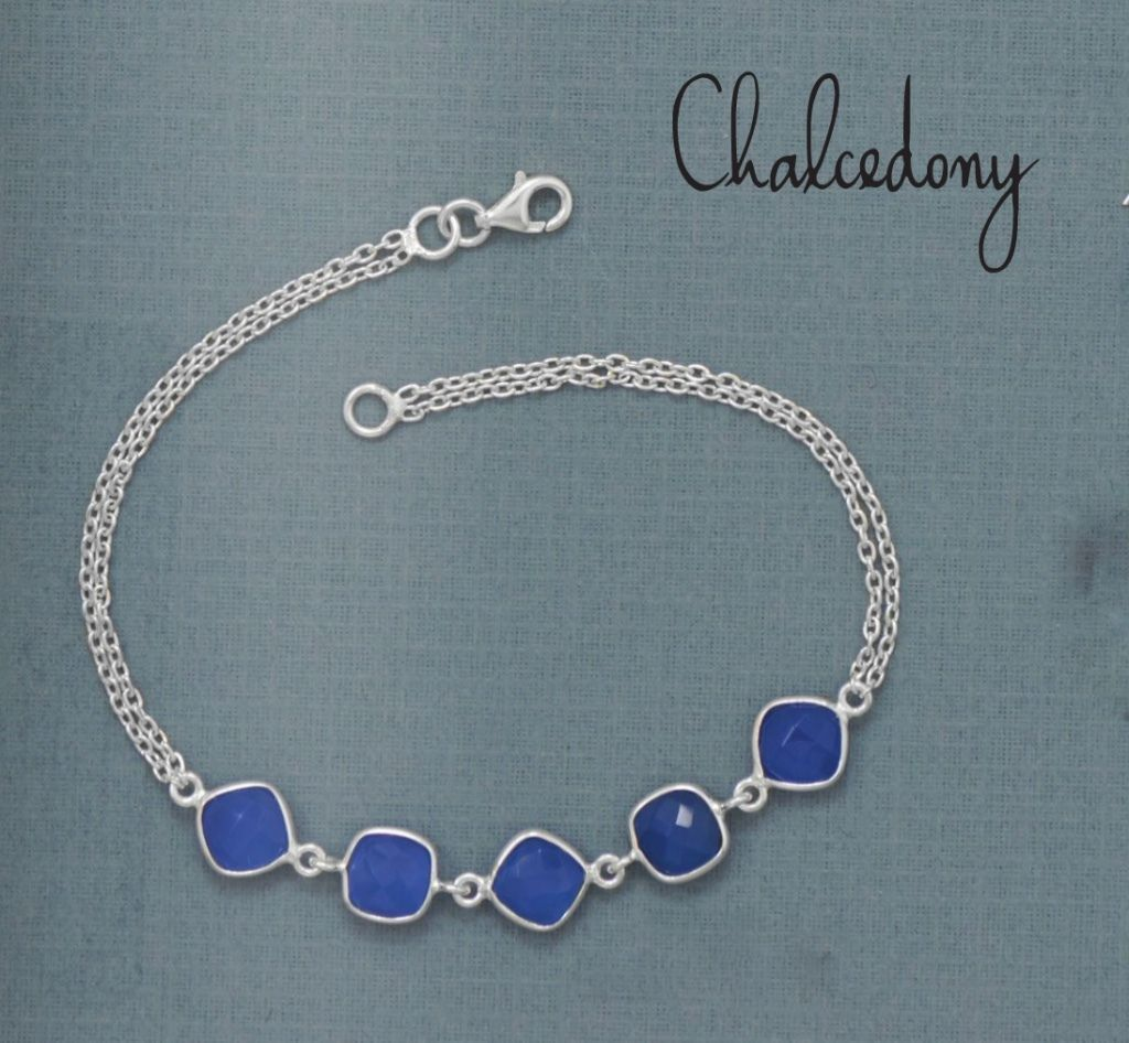Primary image for Women's Sterling Silver Double Chain Bracelet with Blue Chalcedony Gemstones