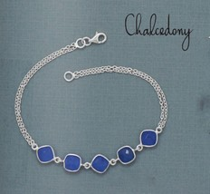 Women's Sterling Silver Double Chain Bracelet with Blue Chalcedony Gemst... - $69.29