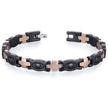 Men's Tungsten Cabide and Black Ceramic Copper Tone Link Bracelet - $69.29