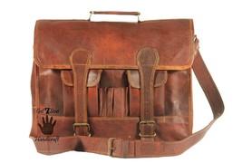Mens Satchel Brown Leather Messenger Shoulder Bag  Laptop Crossbody Briefcase - $51.47