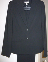 AMANDA SMITH NWT 2 PIECE BLACK PIN STRIPPED PANTS SUIT FLAT ZIP FRONT 8 ... - $34.99