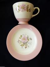 Homer Laughlin VTG Tea Cup & Saucer set  Wild Rose Pink rim - $25.84
