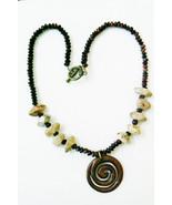 "Genuine multi stone beaded GoldstoneTiger Eye Jasper Pendant Necklace 18""L - $62.32"