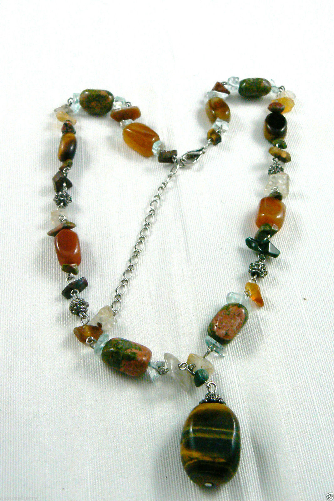 Silver Tone Genuine Multi Stone Beaded With Tiger Eye