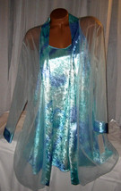 Aqua Blue Shiny Velvet Chemise Nightgown Robe Set 1X 2X 3X Gown & Robe - $25.50
