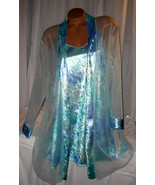 Aqua Blue Shiny Velvet Chemise Nightgown Robe Set 2X Gown & Robe - $25.50