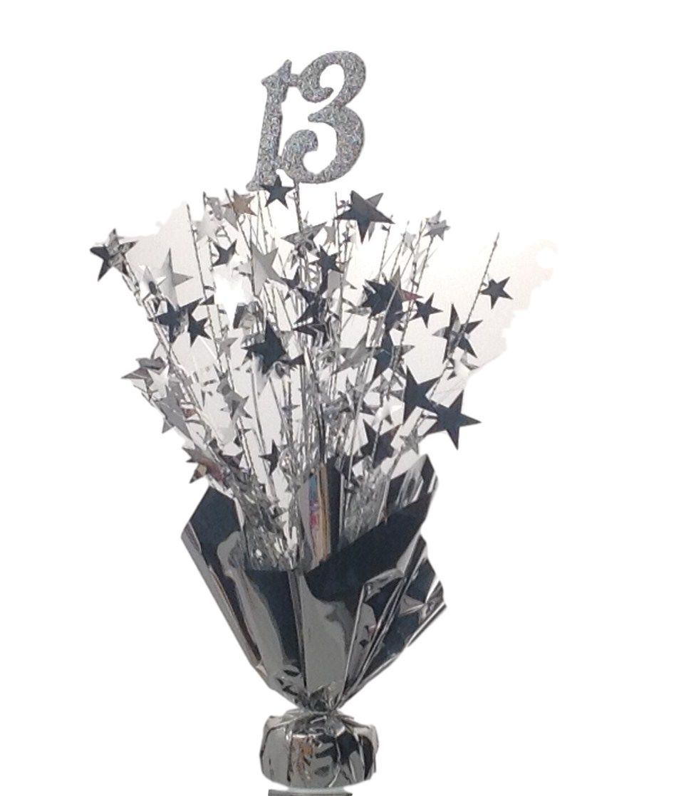 "2 Metallic Silver 13th Anniversary or Birthday Balloon Weights  15"" tall"
