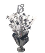 "2 Metallic Silver 13th Anniversary or Birthday Balloon Weights  15"" tall - $9.85"