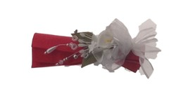 4 Elegant Stunning Reusable White Cala Lily Satin and Organza Napkin Rings - $24.70