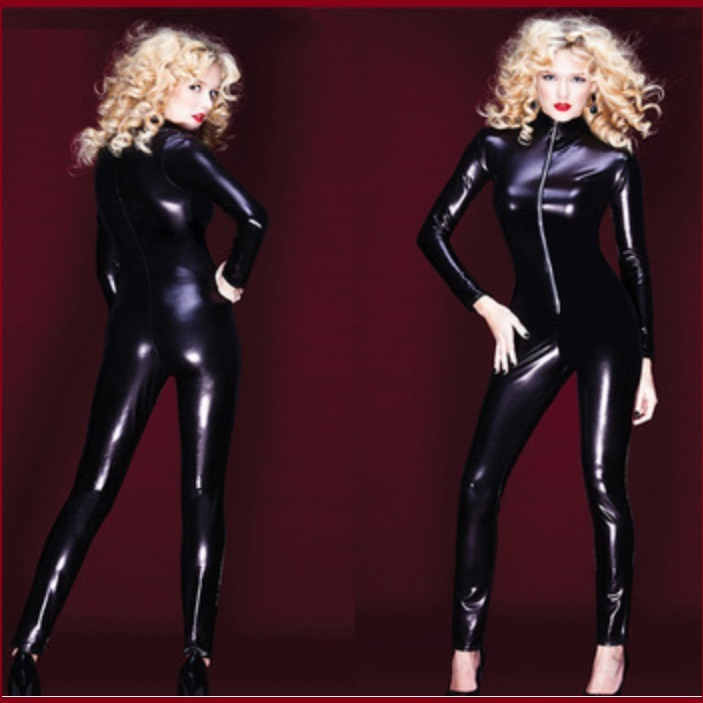 Womens Black Long Sleeve Wet Look Faux PU Leather Front Zip Up Jumpsuit Catsuit