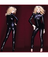 Womens Black Long Sleeve Wet Look Faux PU Leather Front Zip Up Jumpsuit ... - $72.95