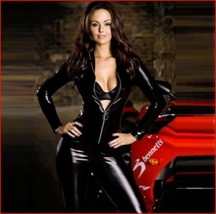 Womens Black Long Sleeve Wet Look Faux PU Leather Front Zip Up Jumpsuit Catsuit image 2