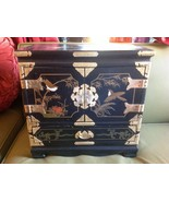 Chinese Vintage Black Lacquer Asian Inlaid Wood... - $499.99