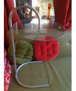 vintage retro glass metal floating end side table - $125.00