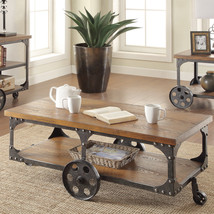 1-Pc Rustic Coffee Table Contemporary Wood & Metal Antique Country Wheel... - €430,13 EUR