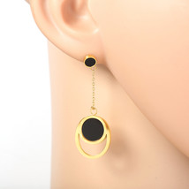 Gold Tone Designer Earrings with Jet Black Faux Onyx Circles & Roman Numerals - $19.99