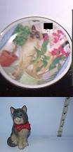 Lot of 2 Cat Collectibles Small Russ Porcelain Plate & Hard Plastic Kitt... - $10.89