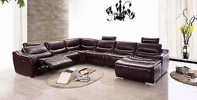 2144 Sectional Sofa Full Top Grain Italian Leather Chic Modern Recliner Right