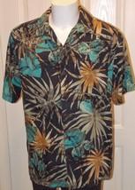 Caribbean Joe Size XL 100% Silk Short Sleeve Button Front Casual Camp Shirt - $13.36
