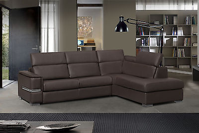 Roy Sectional Sofa Full Bonded Leather Modern Sleeper Bed Right Made in Italy