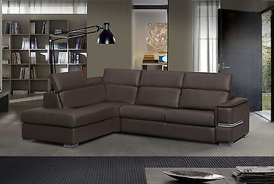 Roy Sectional Sofa Full Bonded Leather Modern Sleeper Bed Left Made in Italy
