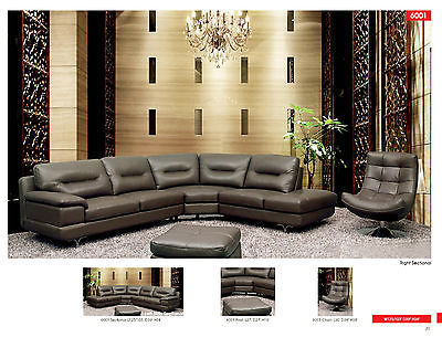 6001 Living Room Sectional Sofa Chair Italian Leather Modern Contemporary Right