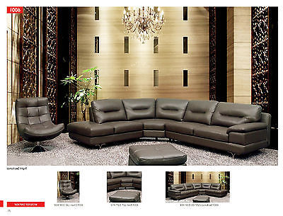 6001 Living Room Sectional Sofa Italian Leather Modern Contemporary Left