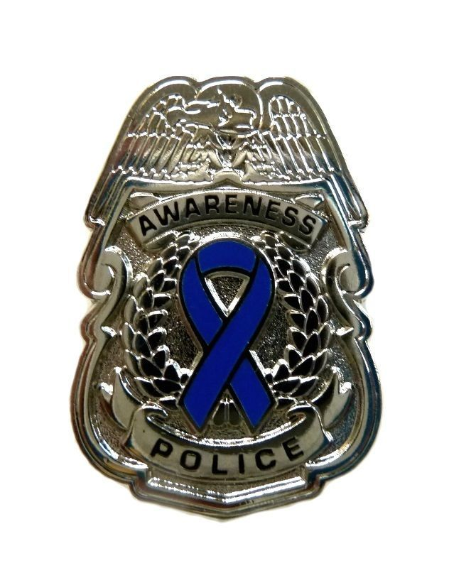 Primary image for Blue Awareness Ribbon Pin Police Badge Security Sheriff Cop Cancer Causes New S