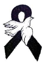 Black Awareness Ribbon Hoodie S White Dove Sweatshirt Melanoma Month May New - $32.31