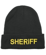 Black Beanie Sheriff Medium Gold Lettering Embroidery Knit Watch Cap One... - $15.65