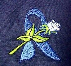 Blue Ribbon Sweatshirt 3XL White Rose Navy Cancer Awareness Crew Neck Unisex New - $27.13