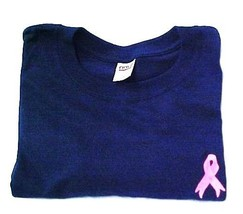 Breast Cancer Sweatshirt Medium Pink Ribbon Embroidery Navy Blue Crew Ne... - $25.45
