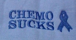 CHEMO SUCKS Sweatshirt S Crew Neck Embroidered Blue Awareness Ribbon Blend New - $26.16