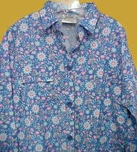Crest Uniforms Womens Med Blue Floral Flowers Print Scrub Big Shirt Jack... - $19.57