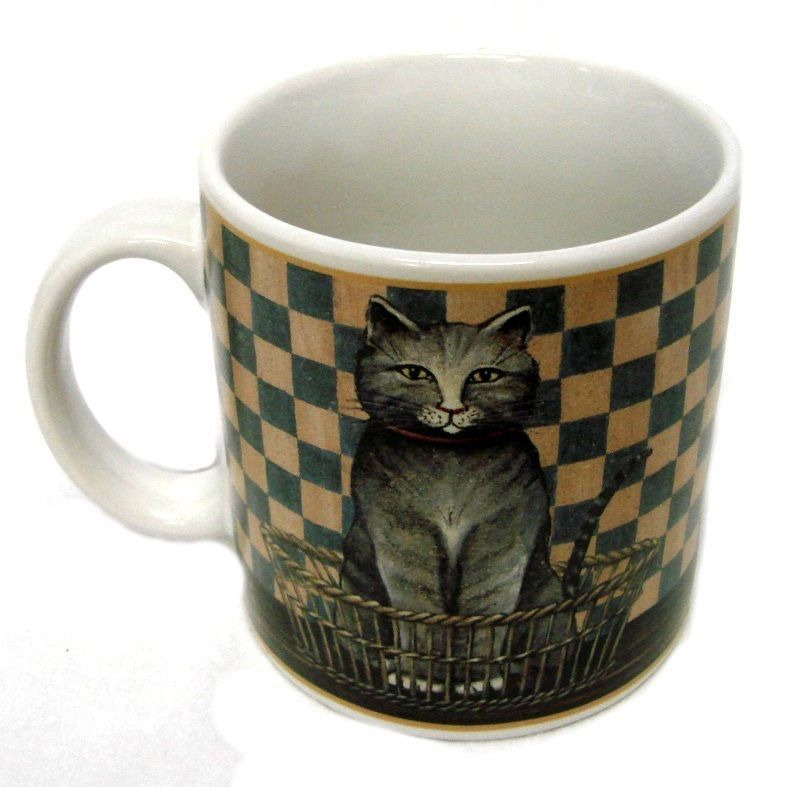 Primary image for D C Brown Co Mug Country Kitties Gray Cat Kitten Collector Checkered Cup VGUC