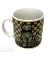 D C Brown Co Mug Country Kitties Gray Cat Kitten Collector Checkered Cup VGUC - $14.52