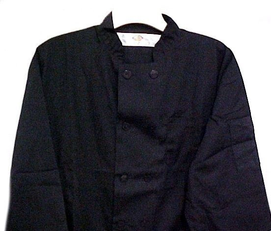 Dickies CW070315A Chef Coat L Plastic Button Black Uniform Jacket Discontinued