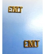 EMT Cut Out Letter Lapel Pin Tac Set of 2 Gold Plated Collar Device 4318... - $14.52