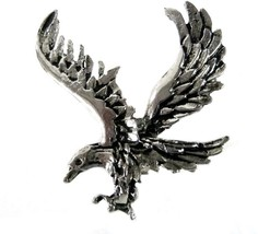 Eagle Silver Plated Double Military Clutch Back Costume Brooch Pin Vintage - $29.67