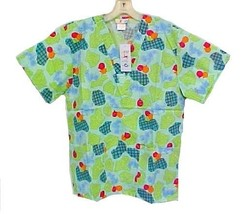 Expo Uniforms Medium Bears Balloons Hearts Cheerful Print V Neck Scrub T... - $14.82
