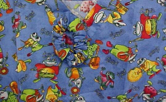 Primary image for Frog Musical Instruments XS Print V-Neck Free Scrunchie Scrub Top New