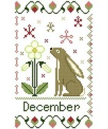 December Holmsey Hare Year Of The Hare cross stitch chart Stitchers Anon... - $8.00