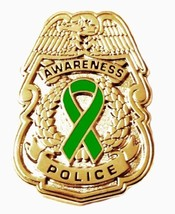 Green Awareness Ribbon Pin Police Badge Security Sheriff Cancer Causes G... - $13.97