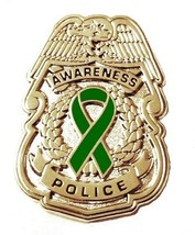 Green Awareness Ribbon Pin Police Badge Security Sheriff Cancer Silver New - $13.97