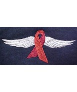 Heart Disease Awareness 2XL Red Ribbon Wing Navy Crew Neck Sweatshirt New - $30.35